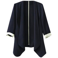 Long Sleeve Draped Collar Open Front Blazer