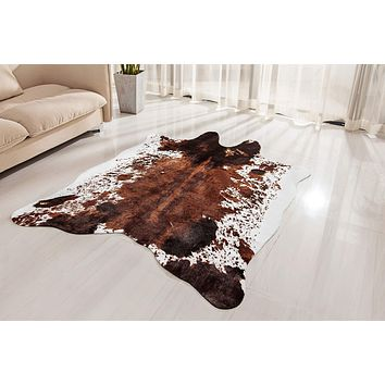 NativeSkins Faux Cowhide Rug Large (4.6ft x 6.6ft) - Cow Print Area Rug for a Western Boho Decor - Synthetic, Cruelty-Free Animal Hide Carpet with No-Slip Backing 4.6x6.6