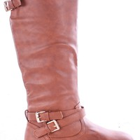 TAN TALL FAUX LEATHER BUCKLE RIDING MOTO FLAT BOOTS