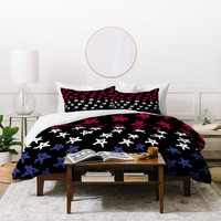 Lisa Argyropoulos Red White And Blue Stars Night Duvet Cover