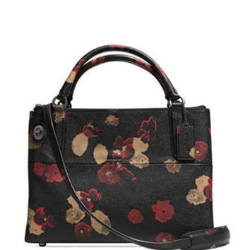 Coach The Small Turnlock Borough Bag In Floral Print Leather