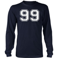Men's Vintage Sports Jersey Number 99 Long Sleeve T-Shirt for Fan or Player #99