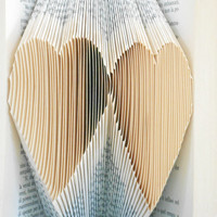 Folded Book Art - Hearts - Wedding Gift - Book Lover - Sweet Origami