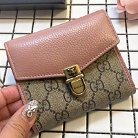 GUCCI New fashion more letter leather purse wallet handbag Pink