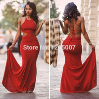New Arrival Halter Cut Out Pleat Sexy Back Slim Fitted Long Red Mermaid Prom Dresses 2015 Sexy Women Maxi Party Gown