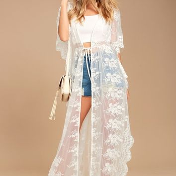 Sweet Honey White Lace Kimono Top