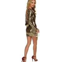 Sale-gold All That Glitters Sequin Dress