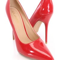 Red Pointed Toe Single Sole Pump Heels
