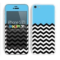 Solid Subtle Blue Color and Chevron Pattern Skin For The iPhone 5c