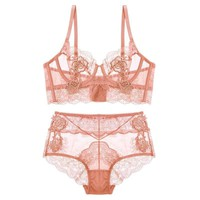 Pink Gather Adjusted Lingerie Bra Set