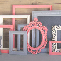 Coral Greys Ivory/Cream Frame Set Custom Frames Open or Picture Frames with GLASS You Choose Frame Collection Coral Nursery