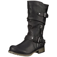 Report Womens Mathews Faux Leather Mid-Calf Motorcycle Boots