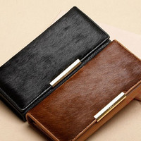2015 Made of high quality Genuine leather & Real horse hair purse New Fashion Solid Female Wallet Women Clutch Change Purses
