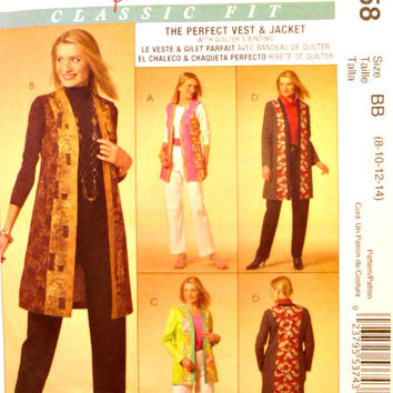 Womens Vest Jacket Sewing Patterns Unlined Two Lengths Collarless Jackets Princess Seams McCalls M5558 Pattern Uncut Size 8 10 12 14