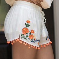 Floral Embroidered Shorties-White