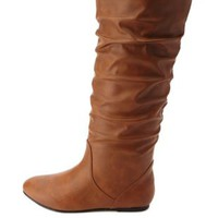 Slouchy Flat Knee-High Boots by Charlotte Russe - Cognac