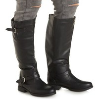 Black WIDE FIT Flat Riding Boots by Charlotte Russe