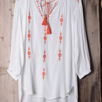 Cupshe Fresh Orange Embroidered Long Top