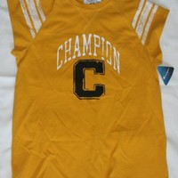 Champion Home Field Cap-Sleeve Mens T Shirt with C Graphic, M-Varsity Yellow