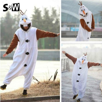 Anime Costume Pajamas Olaf Snowman Cosplay White Jumpsuit Adult One Pieces Pajamas Costume Suit Casual Nightgown Clothing = 1667685508