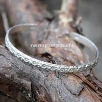 Sterling Silver Cuff Bracelet With Flowers - Handmade Silver Bracelet - Flower Bracelet - Silver Flower Cuff - Patterned Bracelet - Stacking