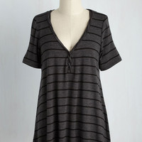 Cinema and Heard Top in Charcoal Stripes | Mod Retro Vintage Short Sleeve Shirts | ModCloth.com