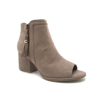 Qupid Shoes Core Peep Toe Ankle Booties in Taupe CORE-28-TAUPE