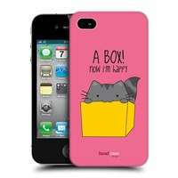 Head Case Designs Happy Box Wilbur the Cat Protective Snap-on Hard Back Case Cover for Apple iPhone 4 4S