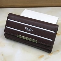 Prada Women Leather Buckle Wallet Purse