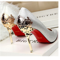 New 2017 Sexy Metal Heel Women's Pumps Suede Leather Flower Stiletto