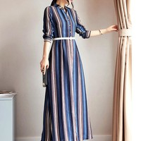 Women Dress Floral Print Work Business Casual Party Vestidos Free Shipping Long Maxi Dresses 199