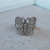 Filigree Butterfly Ring Vintage Sterling Silver