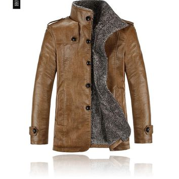 Aliexpress new version hot sale men Thickening Warm Leather jackets Cheap wholesale