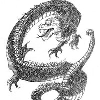 Whimsical Dragon Pen And Ink Drawing Artist Print, Magical Twisting Dragon Detailed Print, Black and White Fierce Dragon Artist Rendering