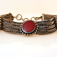 Red Coral Silver Chain Bracelet