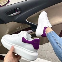 ALEXANDER MCQUEEN Hot Sale Woman Leisure Sport Shoes Sneakers(Velvet Tail) Purple