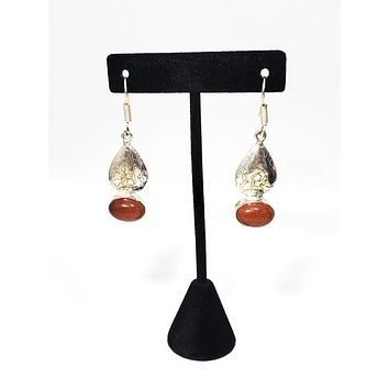Vintage Sparkling Goldstone sterling silver stamped drop earrings 925