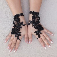 Rose goth gothic lace black Wedding gloves bridal gloves fingerless gloves Halloween costume french lace vampire free ship