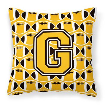 Letter G Football Black, Old Gold and White Fabric Decorative Pillow CJ1080-GPW1414