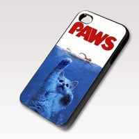 PAWS Movie Parody Funny cat attack, Photo on Hard Case for iPhone 4 / 4s or iPhone 5 case