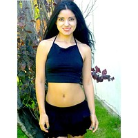 Black Halter Crop Top Cropped Tank top / Made in USA