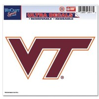 Virginia Tech Hokies Official NCAA 4.5 inch x 6 inch Car Window Cling Decal by Wincraft