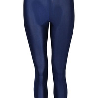 Xanthe High Waisted Wet Look Legging In Navy