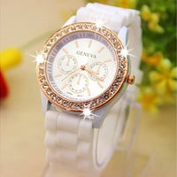 Geneva Silicone Golden Crystal Stone Quartz Ladies/Women/Girl Jelly Wrist Watch Candy Colors