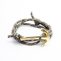 The Gold Hope Anchor Bracelet on Camo Rope