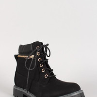 Zipper Accent Lace Up Work Boot Color: Camel, Size: 8.5