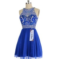 VILAVI A-line Short Tulle Crystal Semi Transparent Prom Dresses 4