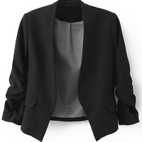 ROMWE | Black Collarless Ruched Sleeve Crop Back Blazer, The Latest Street Fashion