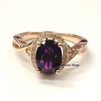 Oval Dark Purple Amethyst Engagement Ring Pave Diamond Wedding 14K Rose Gold 6x8mm Floral