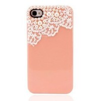 eFuture Peach orange Hand Made Lace and Pearl Hard Case Cover fit for the new Iphone4 4s